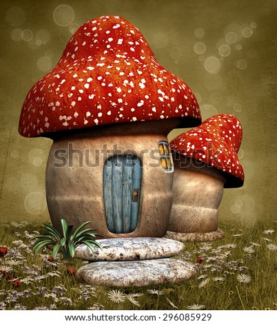 Mushroom fantasy house - stock photo