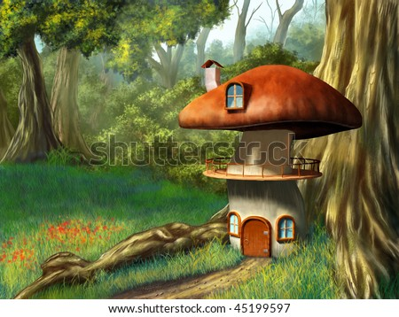 Mushroom house in an enchanted forest. Digital illustration. - stock photo