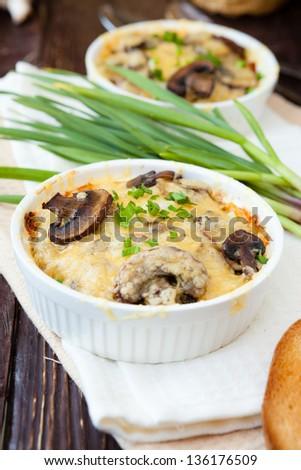 Mushroom julienne in a baking dish, casserole - stock photo