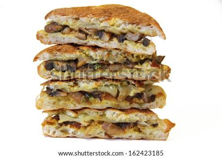 Mushroom panini stacked - stock photo