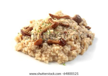 mushroom risotto dinner - stock photo