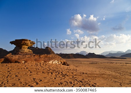 Mushroom rock formation in Wadi Rum desert, Jordan - stock photo