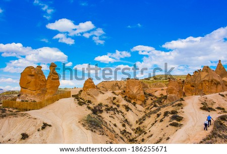 Mushroom rocks in Cappadocia, Turkey. - stock photo