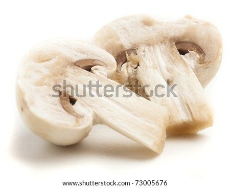 mushroom slice isolated on a white background - stock photo
