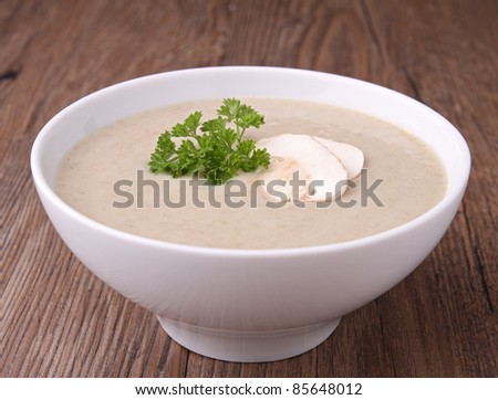 mushroom soup and parsley