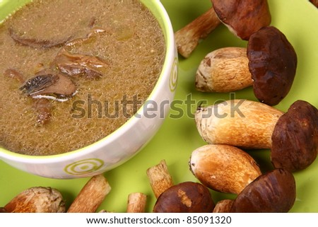 Mushroom soup in a bowl with some fresh mushrooms around it - stock photo