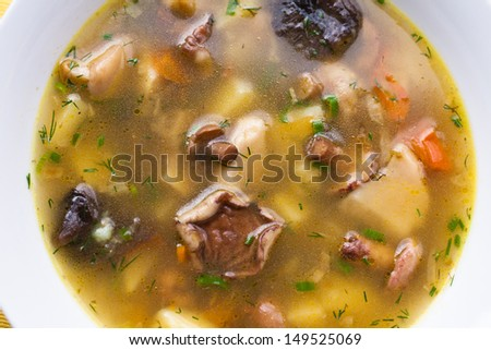 Mushroom soup in a white plate