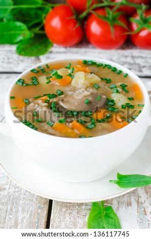 Mushroom soup with buckwheat, selective focus - stock photo
