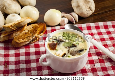 Mushroom soup with croutons in white bowl