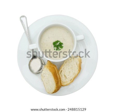 mushroom soup with garlic bread (isolated on white with clipping path)