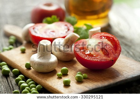 mushrooms and fresh vegetables - stock photo