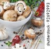mushrooms and spices - stock photo