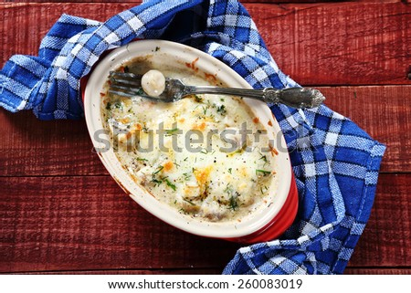 Mushrooms in a baking dish, food - stock photo