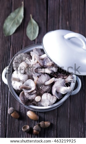 mushrooms in bowl and on a table
