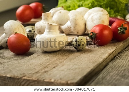 Mushrooms.ingredients for pizza - stock photo