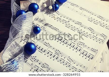 Music and Christmas decor closeup - stock photo
