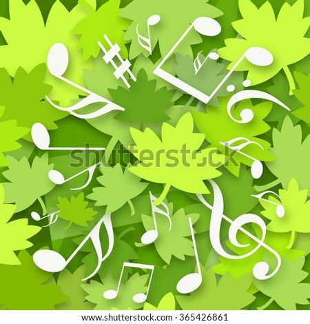 Music and green maple leaves - stock photo