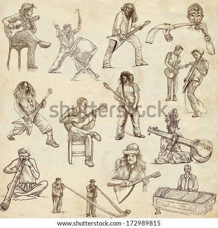 Music and Musicians around the World (set no.1, old paper set) - Collection of an hand drawn illustrations. Description: Full sized hand drawn illustrations drawing on old paper.