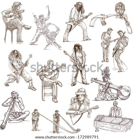 Music and Musicians around the World (set no.1, white set) - Collection of an hand drawn illustrations. Description: Full sized hand drawn illustrations drawing on white background. - stock photo