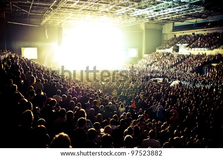 Music Arena Crowd Silhouette - stock photo