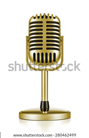 Music award, vintage gold microphone isolated on white background - stock photo