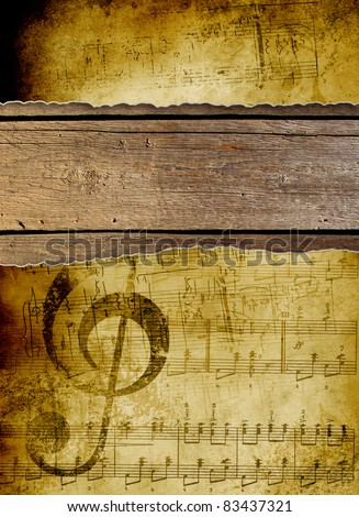 Music background in grunge style. Old art documents concept. made in school