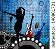 Music background . Raster version of vector illustration - stock photo