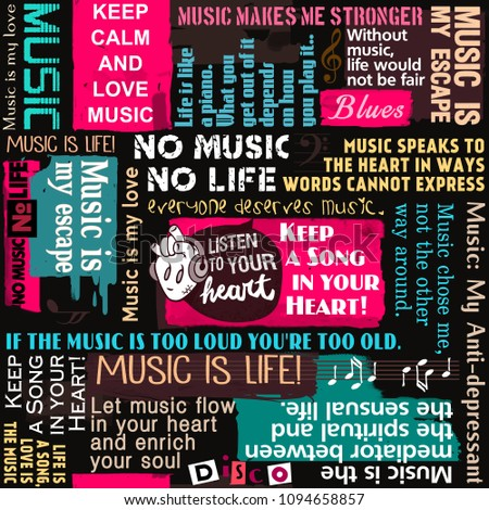 Music Background Seamless Pattern Collage Wallpaper