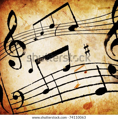 Music Background.Vintage Styled. (For editors: not a real musical composition ) - stock photo