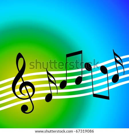 Music background with dancing random musical symbols - stock photo