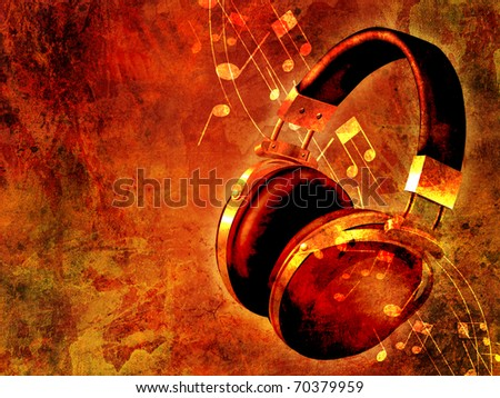Music background with headphones and notes - stock photo