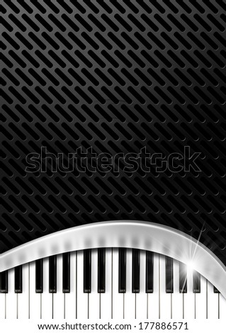 Music Background with Piano Keys / Black and grey background with metallic grid, metal curve and piano keyboard - stock photo