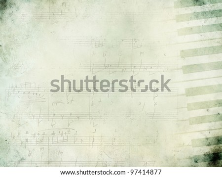 Music background with piano keys in grunge style. Music concept. - stock photo