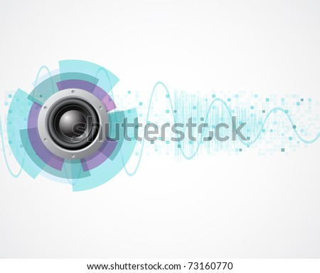 music background with speaker and wave - stock photo