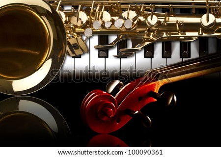 music backround piano sax violine - stock photo