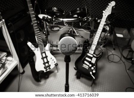 Music band background concept.selective focus music instrument the microphone, guitar,drum,bass. - stock photo