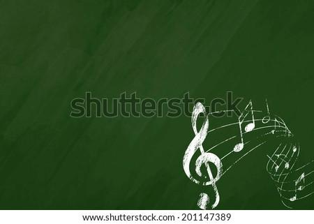 Music blackboard - stock photo