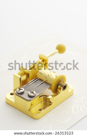 Music box on gift card - stock photo