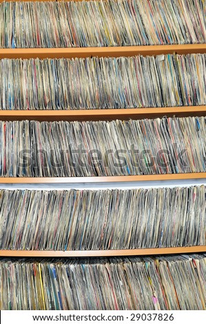 music cd dvd and plates collection library archive - stock photo