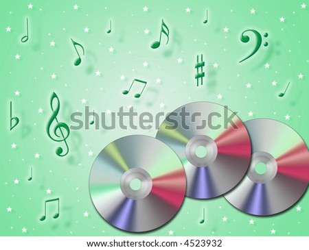 Music CD rom with notes in the air and colorful background - stock photo