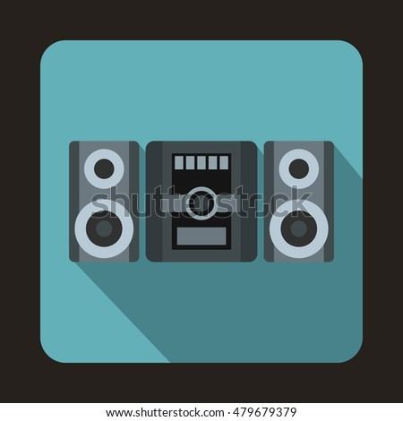 Music center icon in flat style with long shadow. Home appliances symbol