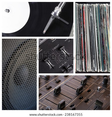Music club collage with different dj tools  - stock photo