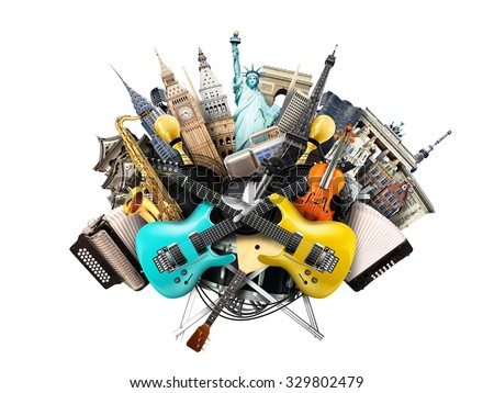 Music collage, musical instruments and world landmarks - stock photo