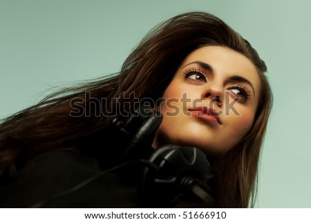 Music collection - Attractive young music lover - stock photo