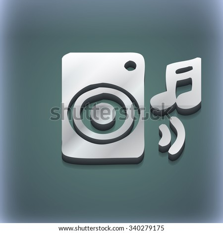 music column, disco, music, melody, speaker icon symbol. 3D style. Trendy, modern design with space for your text illustration. Raster version - stock photo