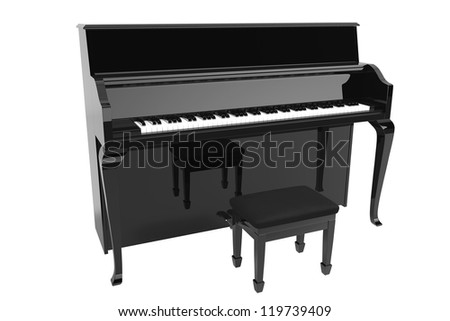 Music Concept. Black piano on a white background - stock photo