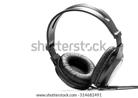 Music concept - close up headphones black Isolated on White