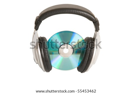 music concept, headphone and cd/dvd on white background - stock photo