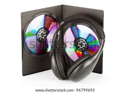 Music concept - Headphones with CD in box on the white background - stock photo