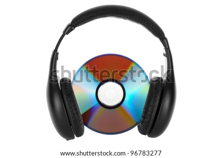 Music concept - Headphones with CD on the white background - stock photo